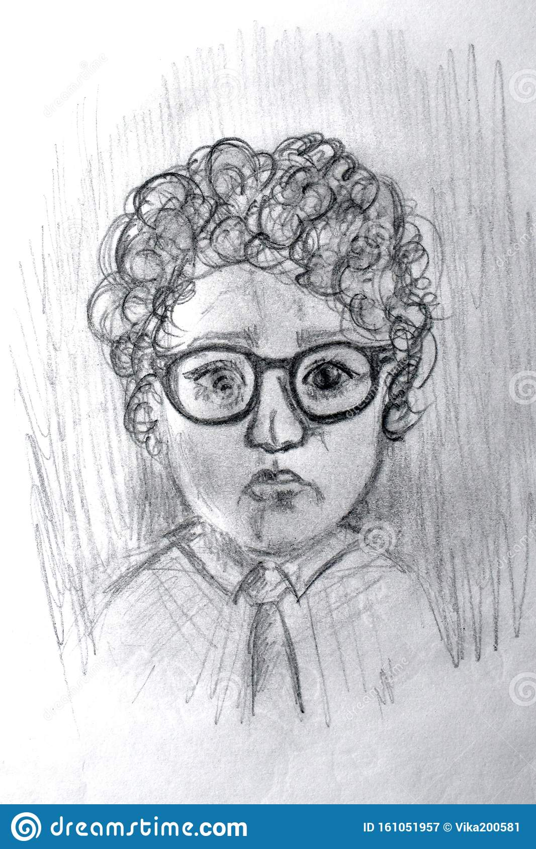 Portrait Of A Schoolboy In Glasses By Simple Pencil Black And White Pencil Sketch Of A Child Stock Image Image Of Closeup Design 161051957