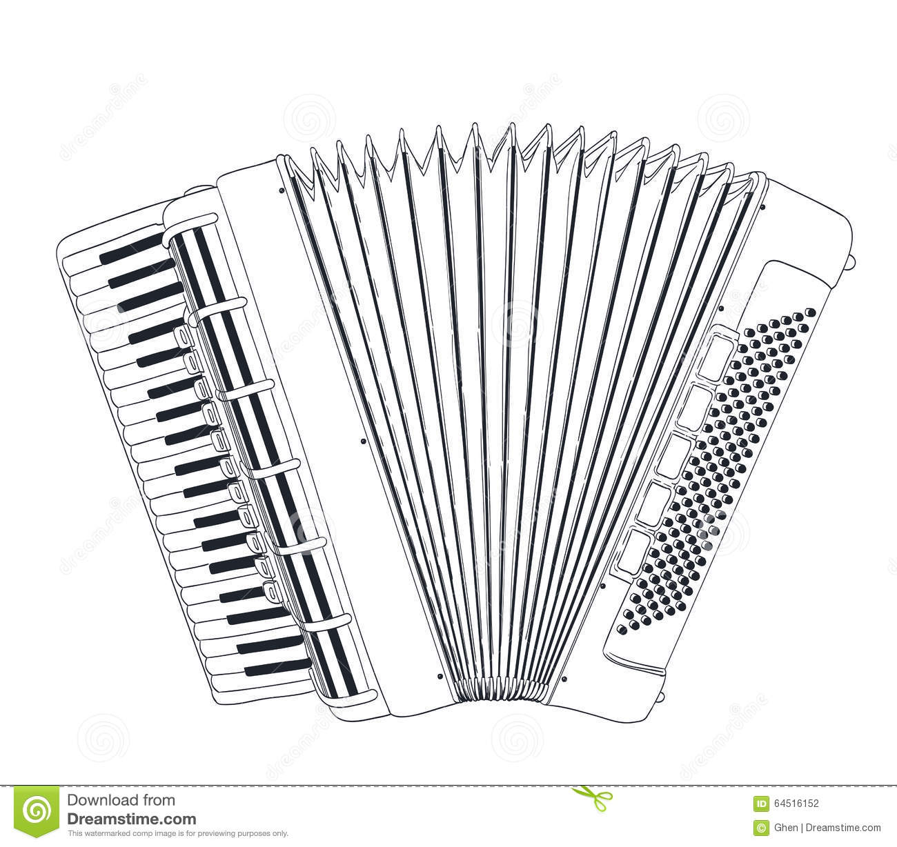 Accordion Drawing Stock Vector Illustration Of Hand