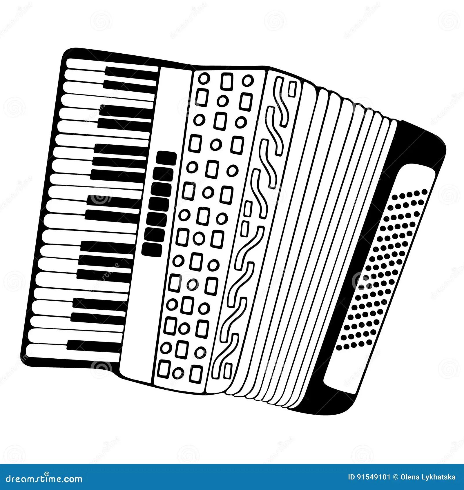 Accordion Hand Drawn Illustration Stock Vector