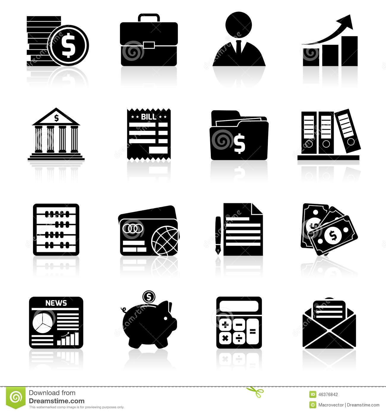Accounting Icons Set Black Stock Vector