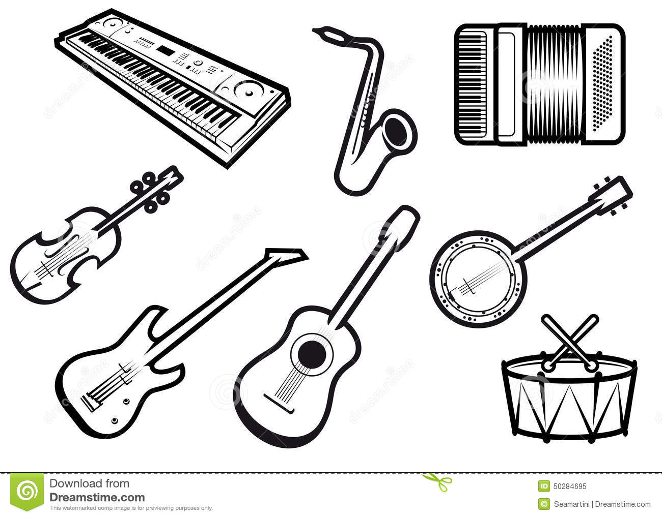 Acoustic And Electric Musical Instruments Stock Vector