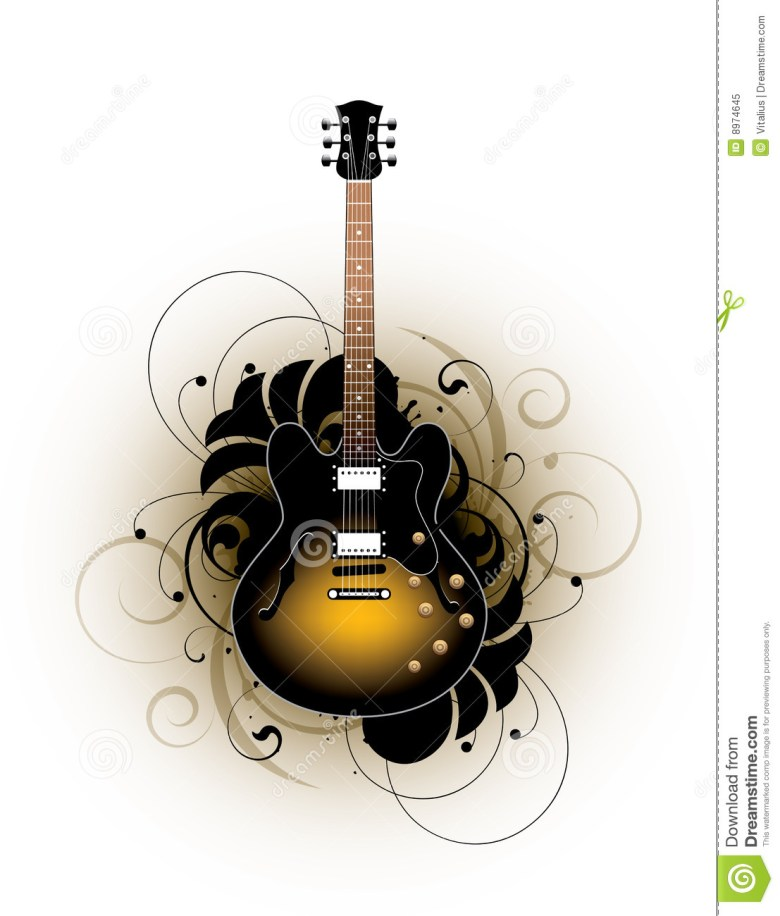 acoustic guitar design stock vector. illustration of brown - 8974645