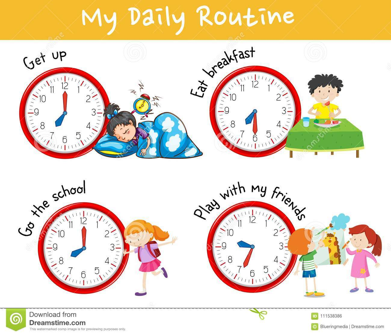 Activity Chart Showing Different Daily Routine Of Kids