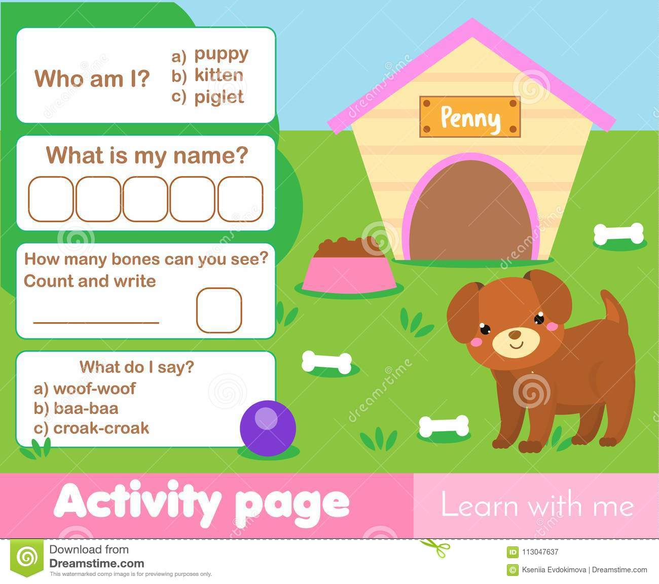 Activity Page For Kids With Cute Puppy Educational