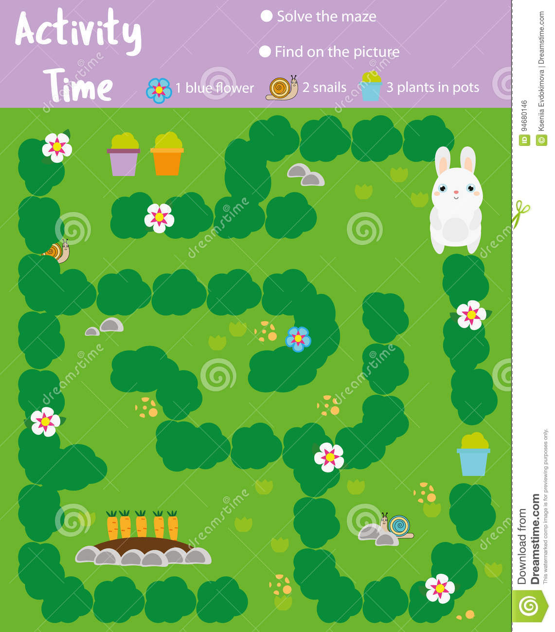 Activity Page For Kids Educational Game Maze And Find Objects Animals Theme Help Rabbit Find