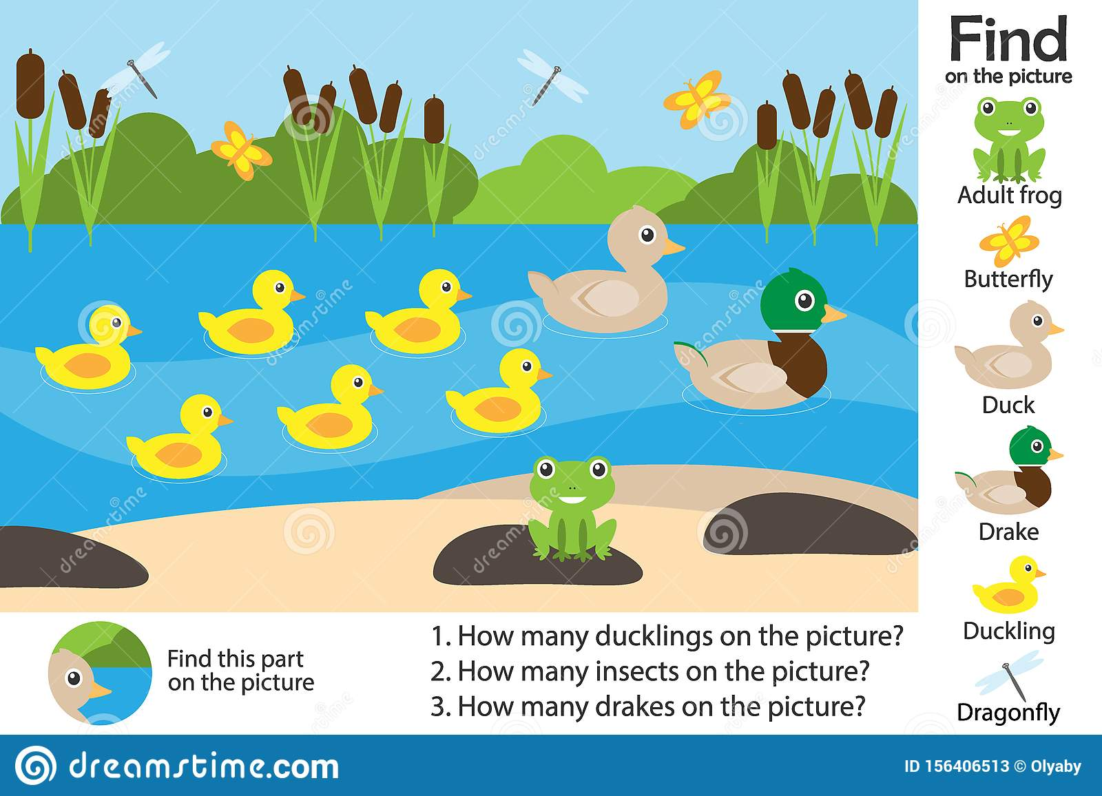 Activity Page Pond With Ducks In Cartoon Style Find