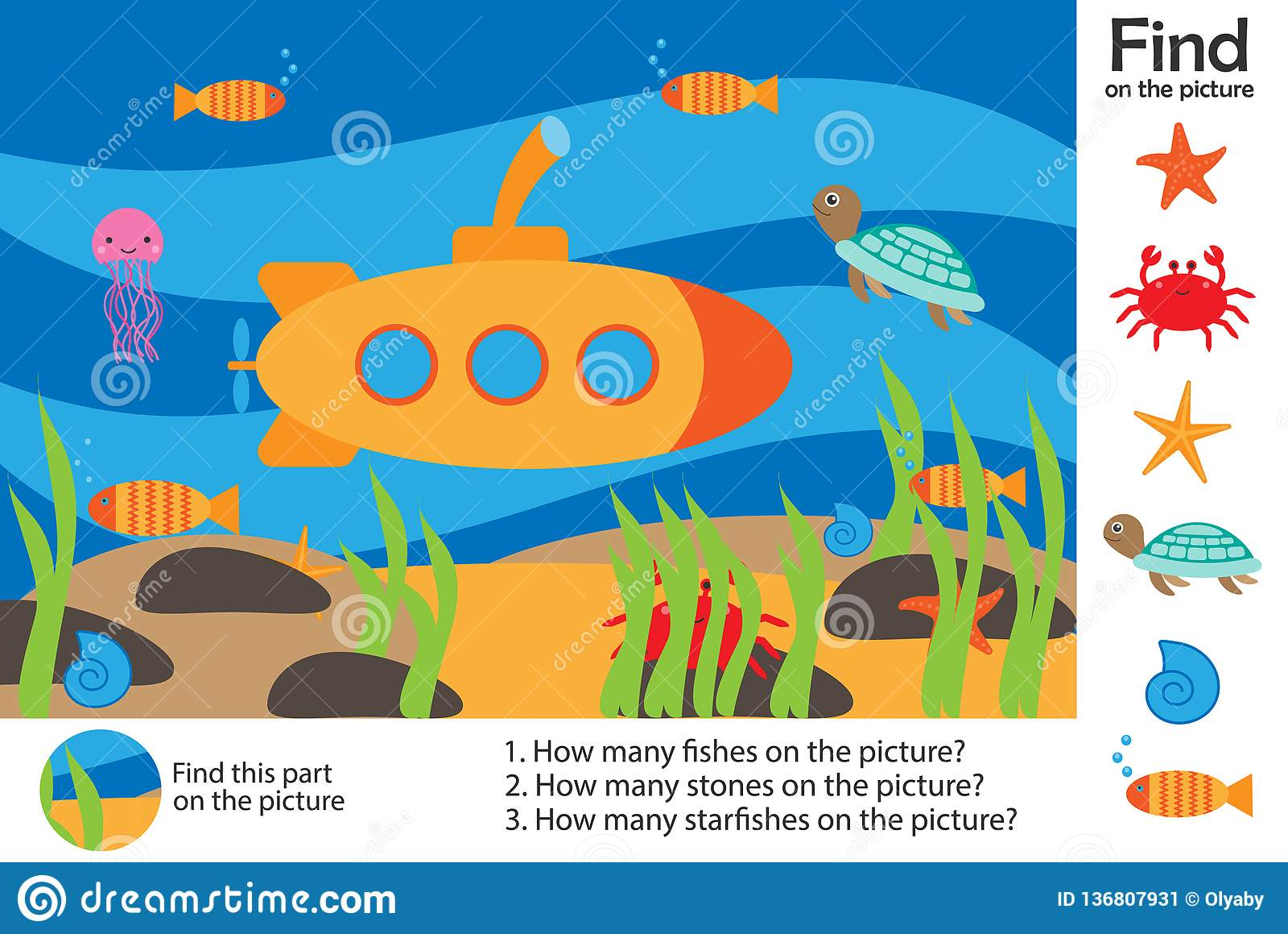 Activity Page Sea World Underwater In Cartoon Style Find