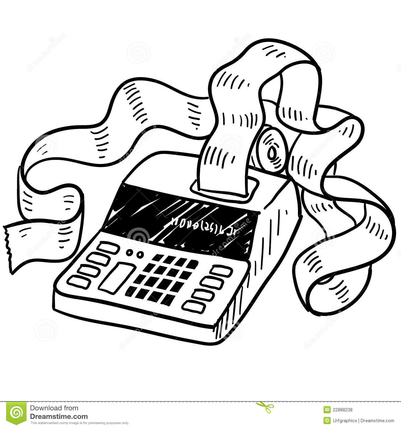 Adding Machine Sketch Stock Illustration Illustration Of