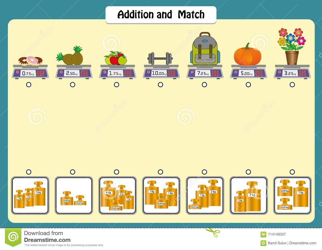 Addition And Match The Weights Of Objects Math Worksheets