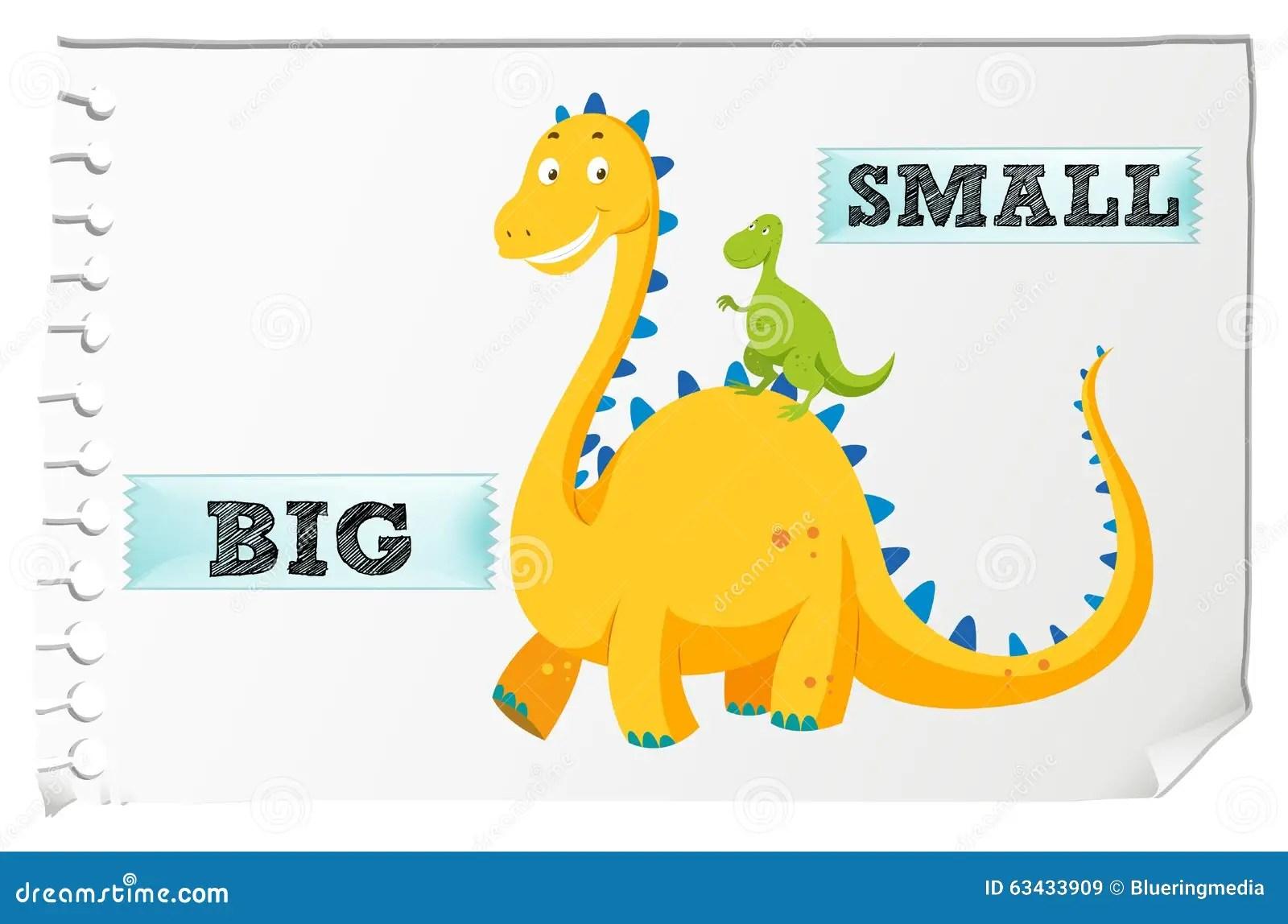 Adjetivos Opostos Com Grande E O Pequeno Ilustracao Do