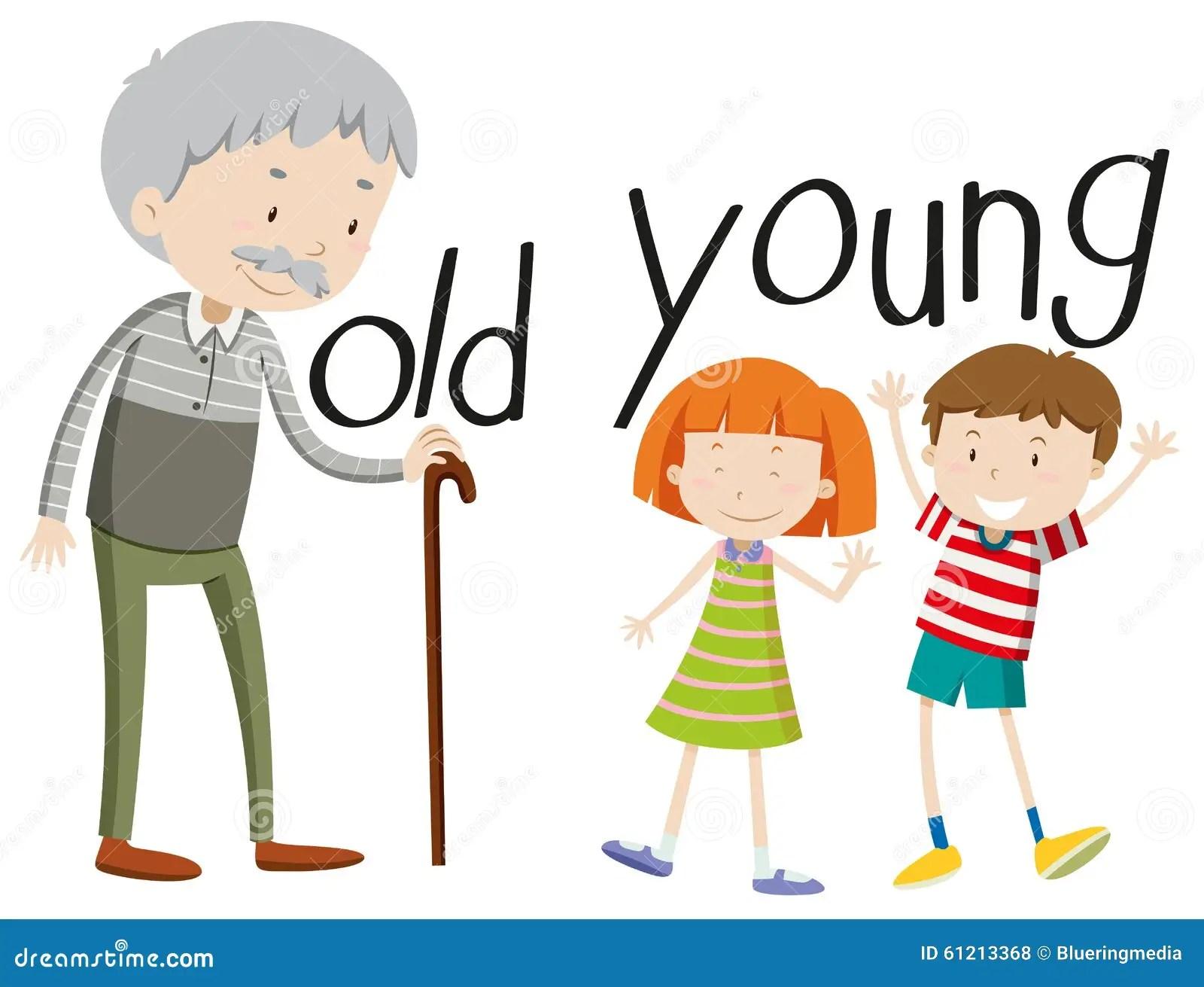 Adjetivos Opuestos Viejos Y Jovenes Ilustracion Del Vector
