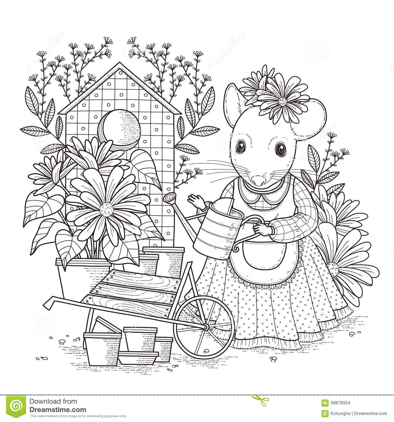 Adorable Mouse Coloring Page Stock Illustration Image