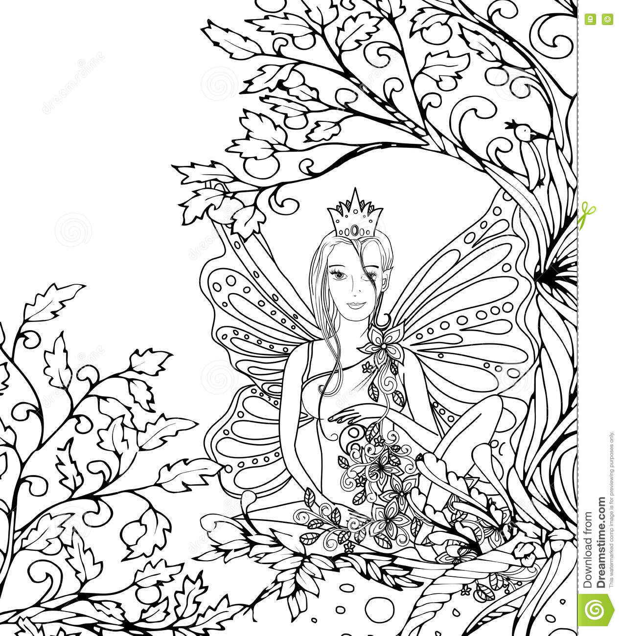 Adult Coloring Book Page Isolated Fairy Lady With