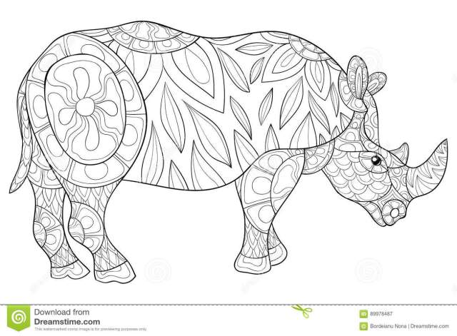 Adult coloring page rhino stock vector. Illustration of coloring