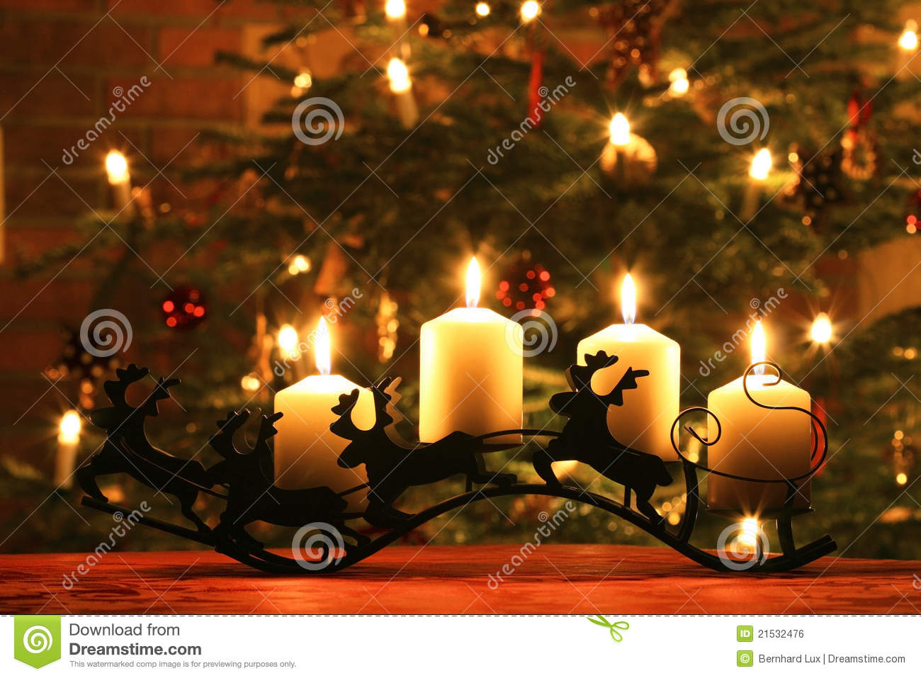 Advent Candles On Reindeer Sledge Stock Photo Image