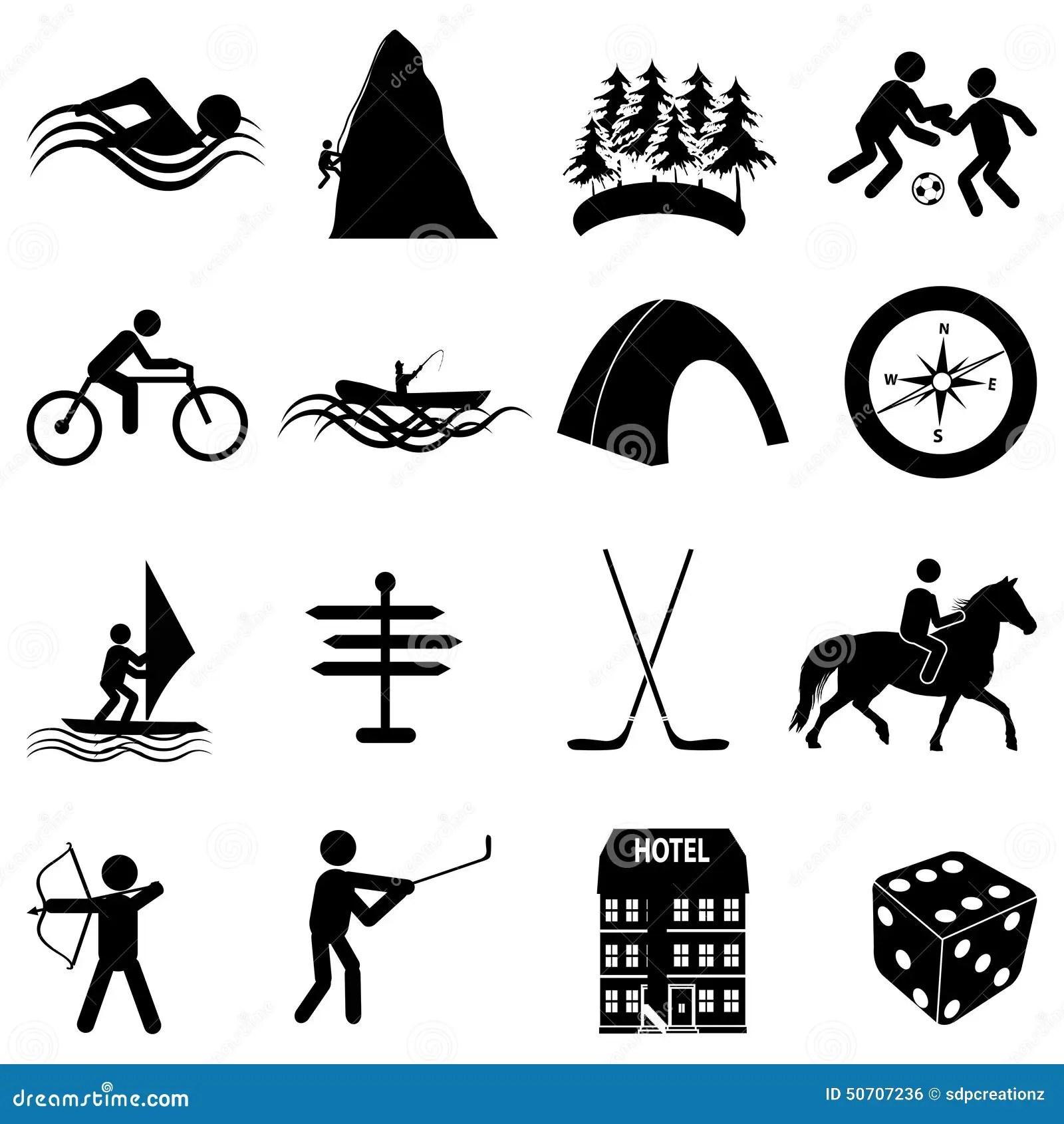 Adventure Sports Icons Set Stock Vector Illustration Of