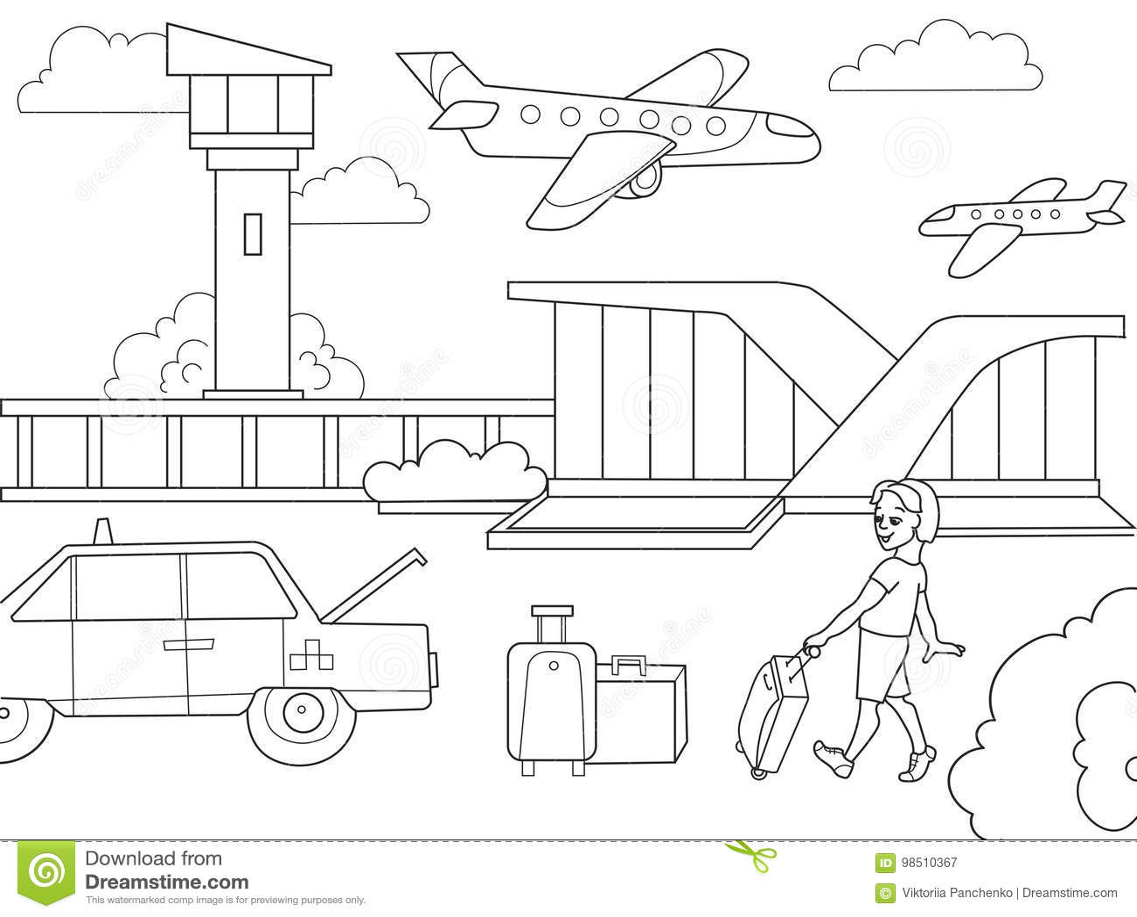 Aeropuerto Del Libro De Colorear De Los Ninos De La