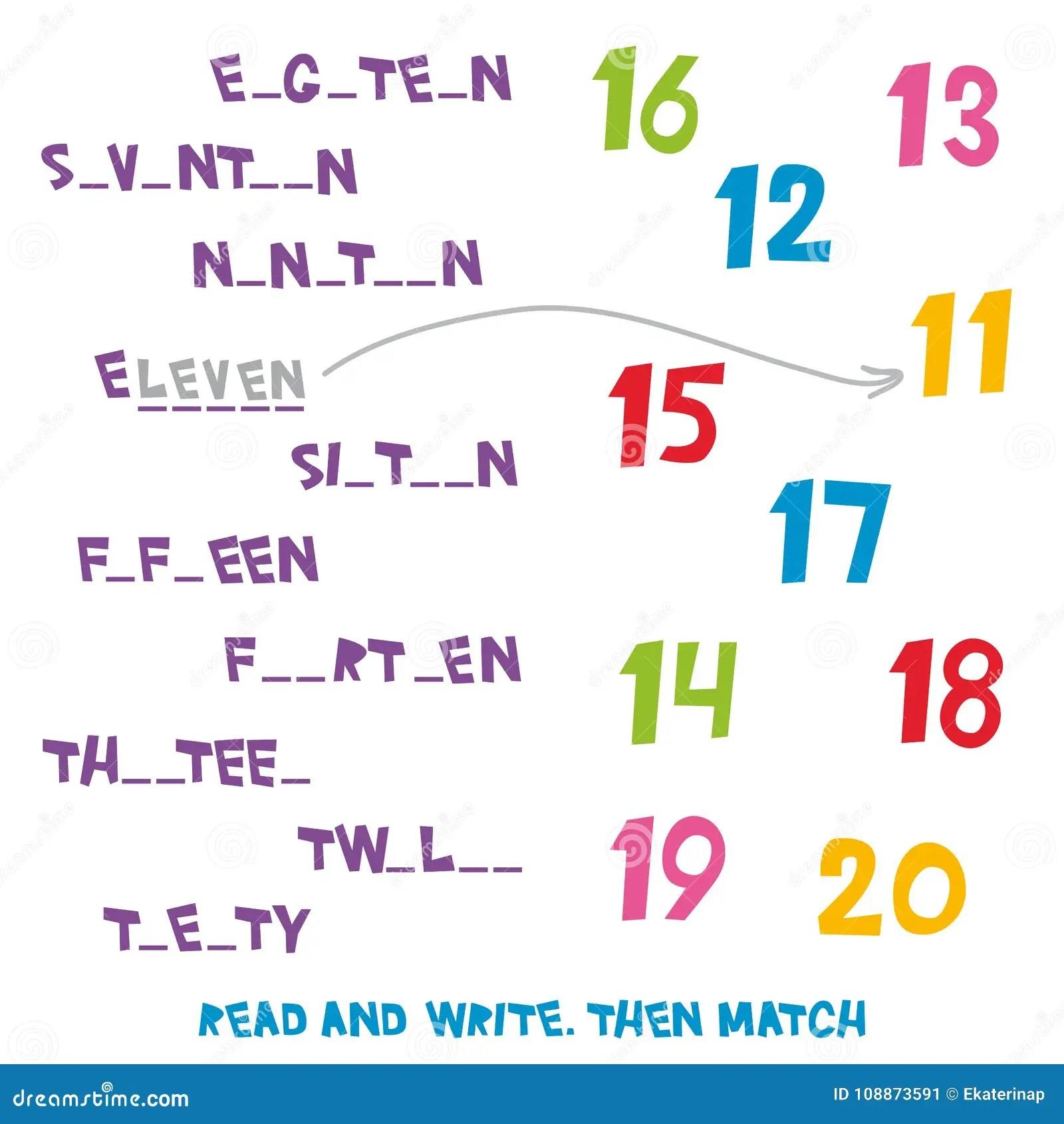 Affichez Et Ecrivez Assortissez Alors Les Numeros 11 20 Les Enfants Exprime Apprendre Le Jeu