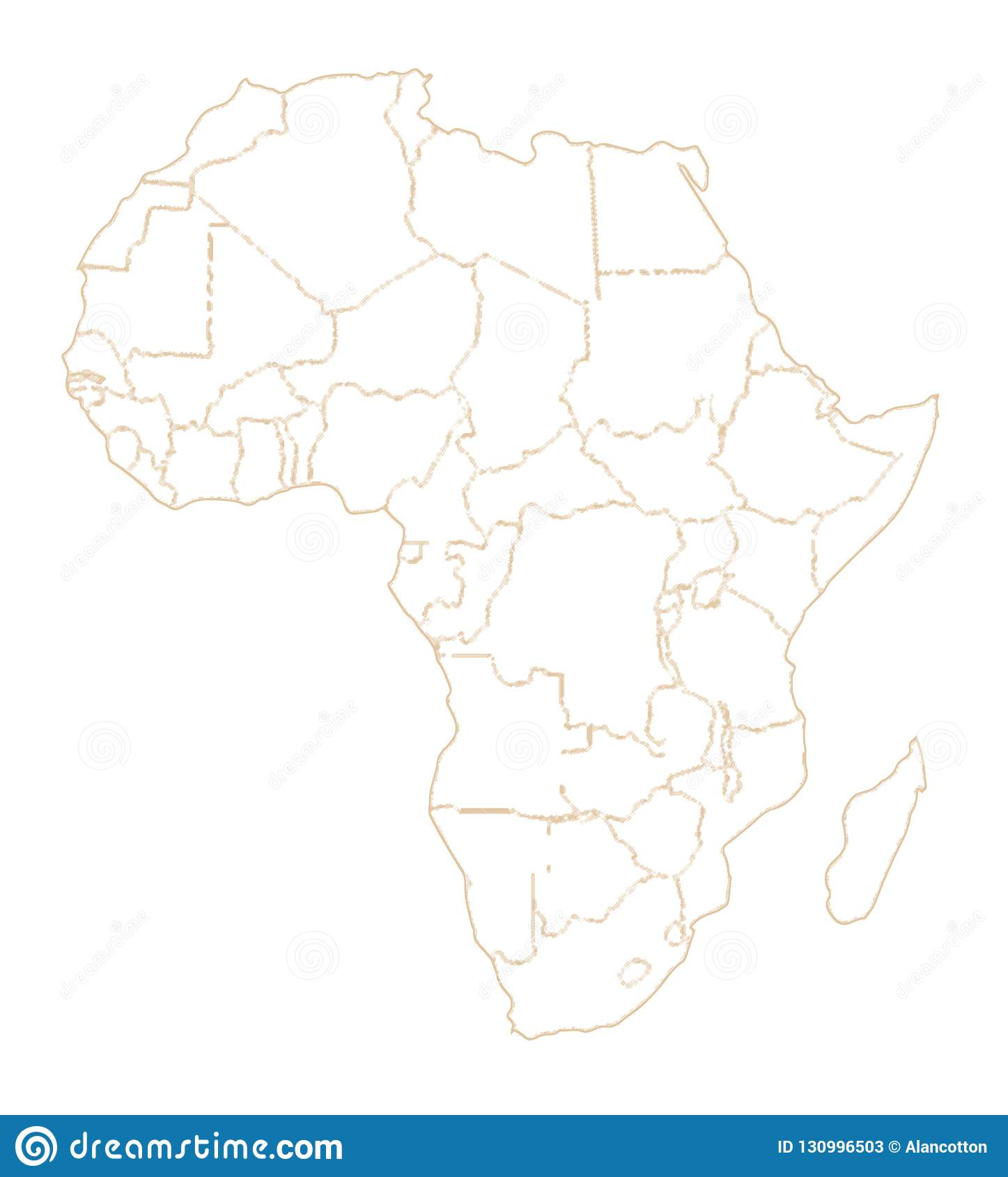 Africa Country Outlines Stock Illustration Illustration Of African 130996503