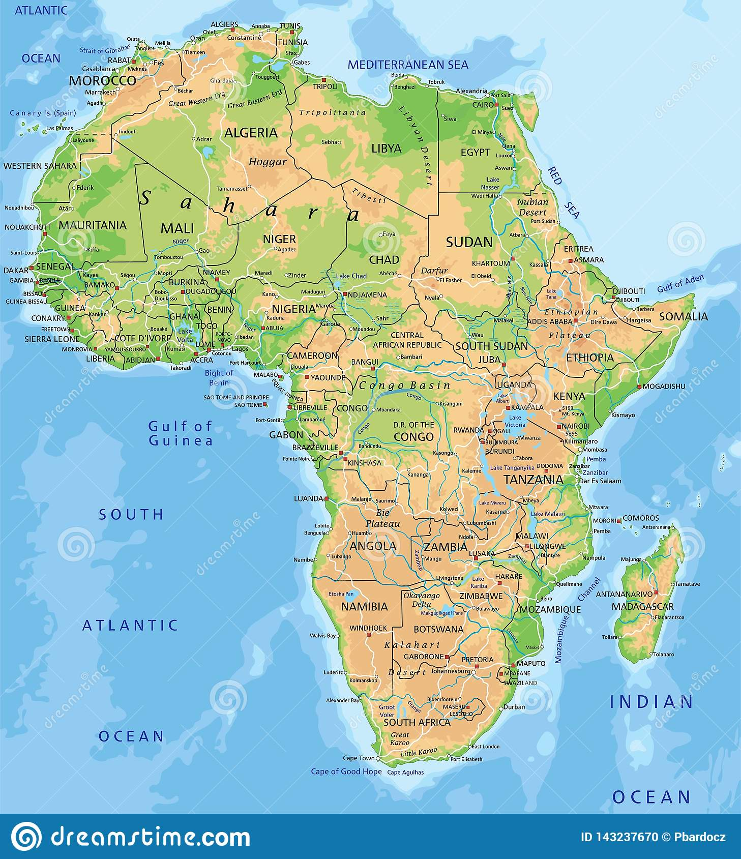 High Detailed Africa Physical Map With Labeling Stock