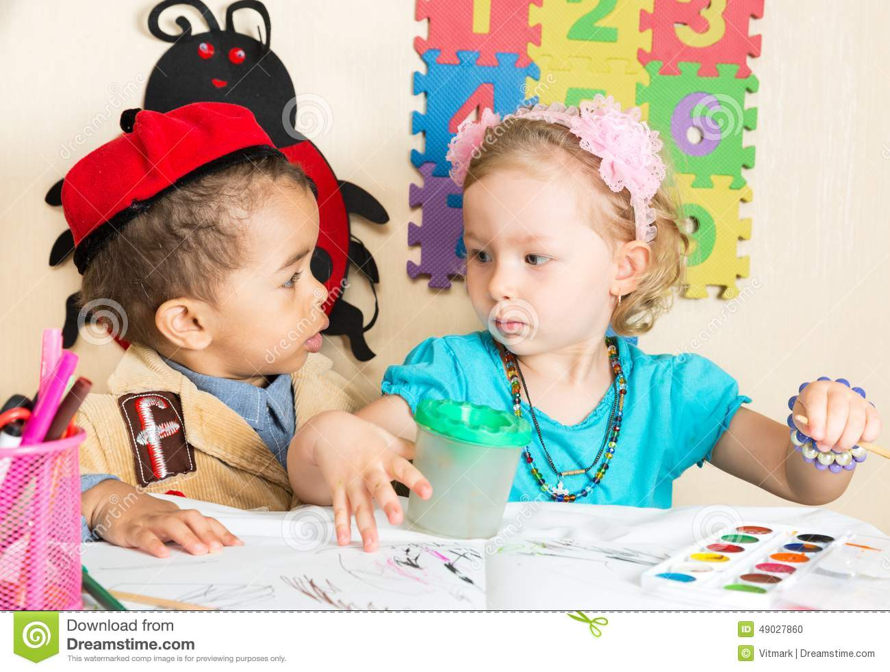 African American Black Boy And Girl Drawing With Colorful