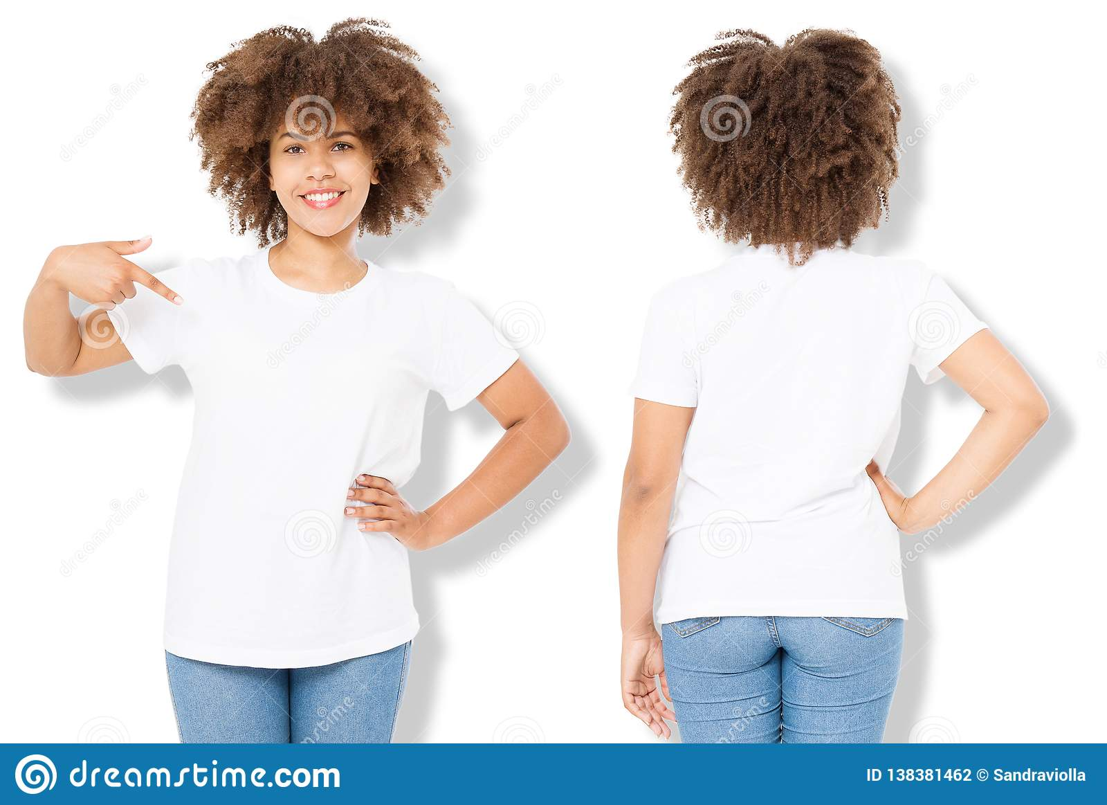 African American Girl In White T Shirt Template And Shadow