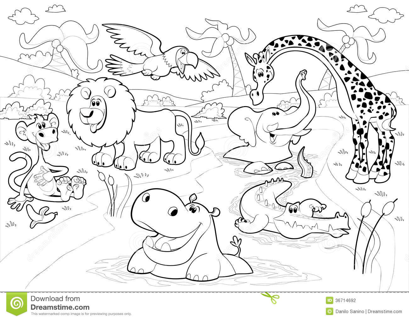 African Animals In The Jungle In Black And White Stock