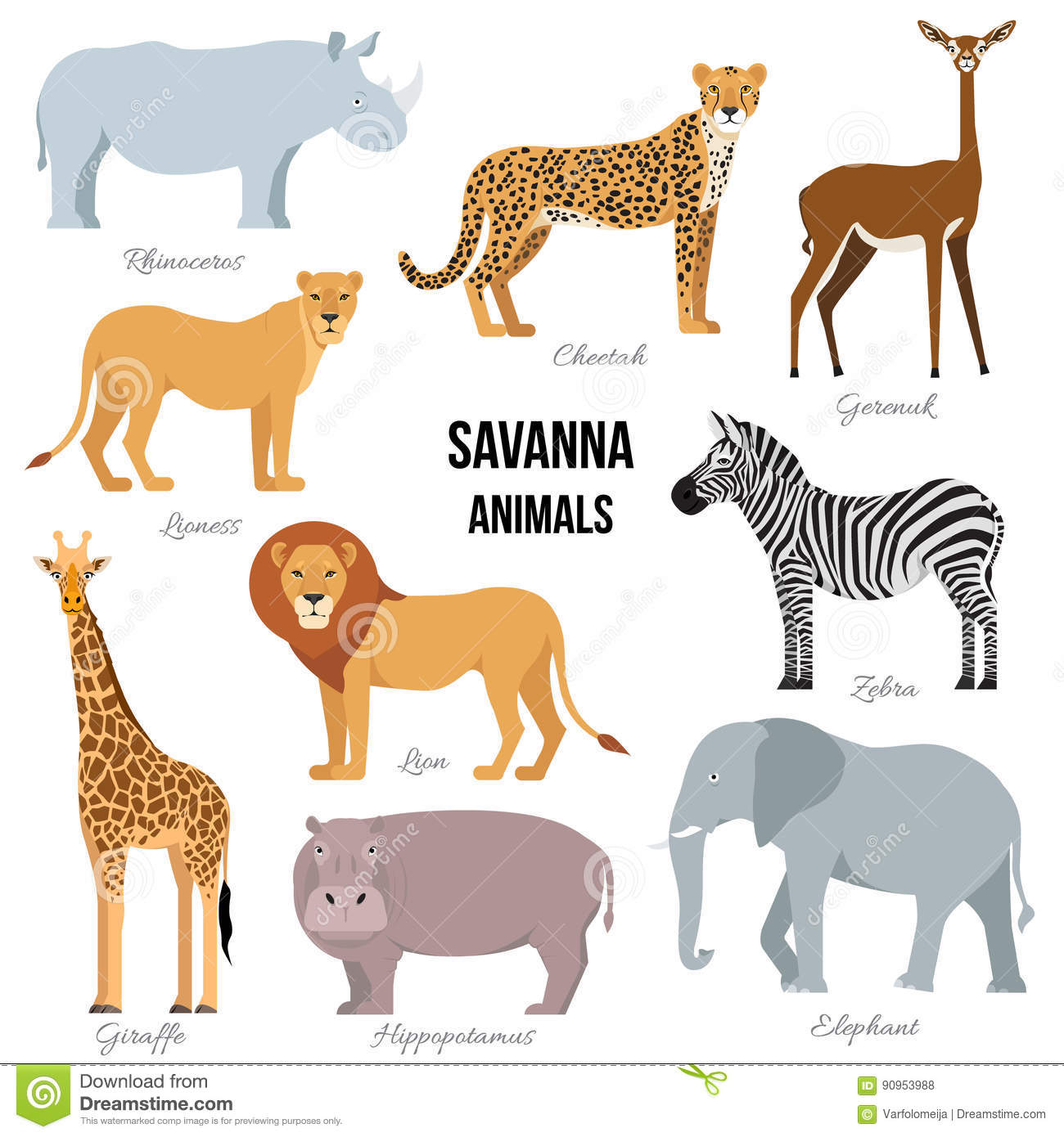 African Animals Of Savanna Elephant Rhino Giraffe