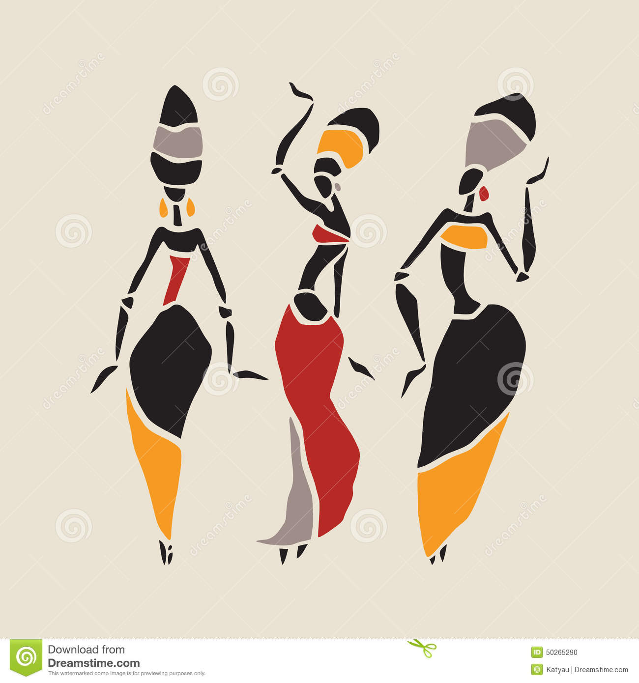 African Dancers Silhouette Set Stock Vector Image 50265290