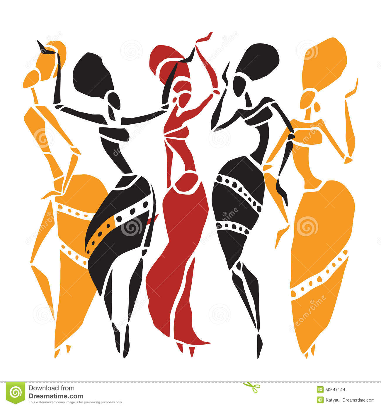 African Dancers Silhouette Set Stock Vector Image 50647144