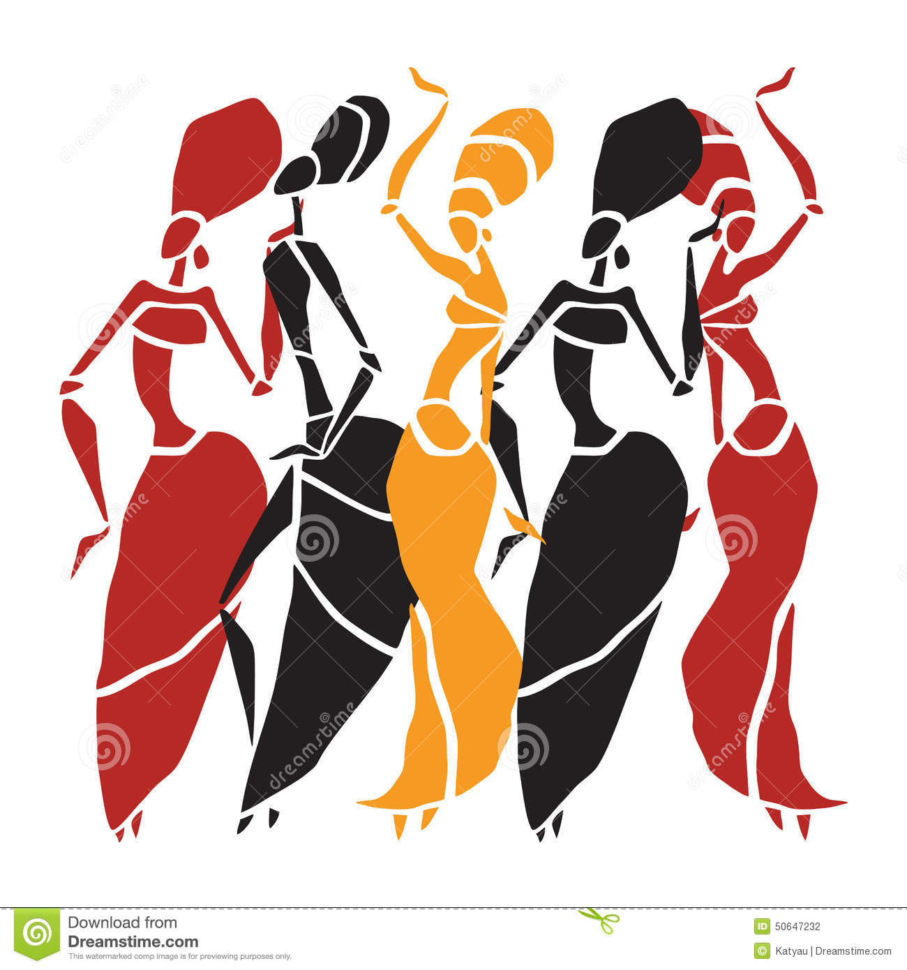 African Dancers Silhouette Set Stock Vector Image 50647232
