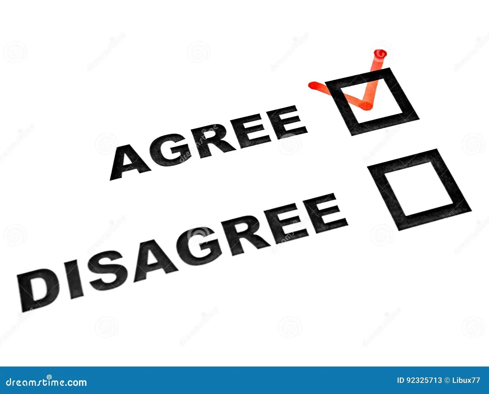 Agree Disagree Check Boxes On White Sheet Tick On Agree