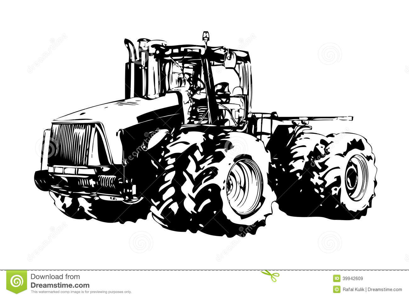 Agricultural Tractor Illustration Art Stock Illustration