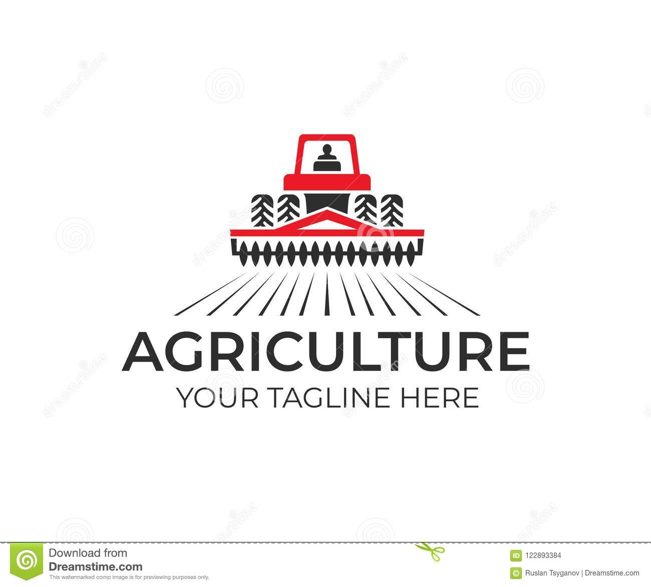 Agriculture And Farming With Tractor With Cultivator And