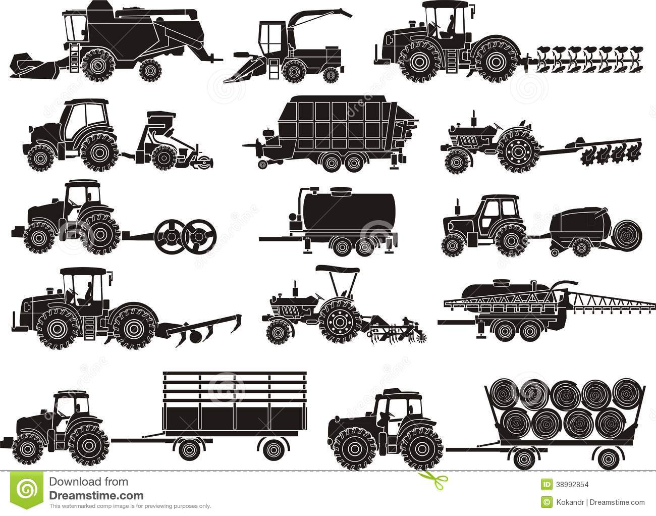 Agriculture Machines Set Stock Vector Illustration Of