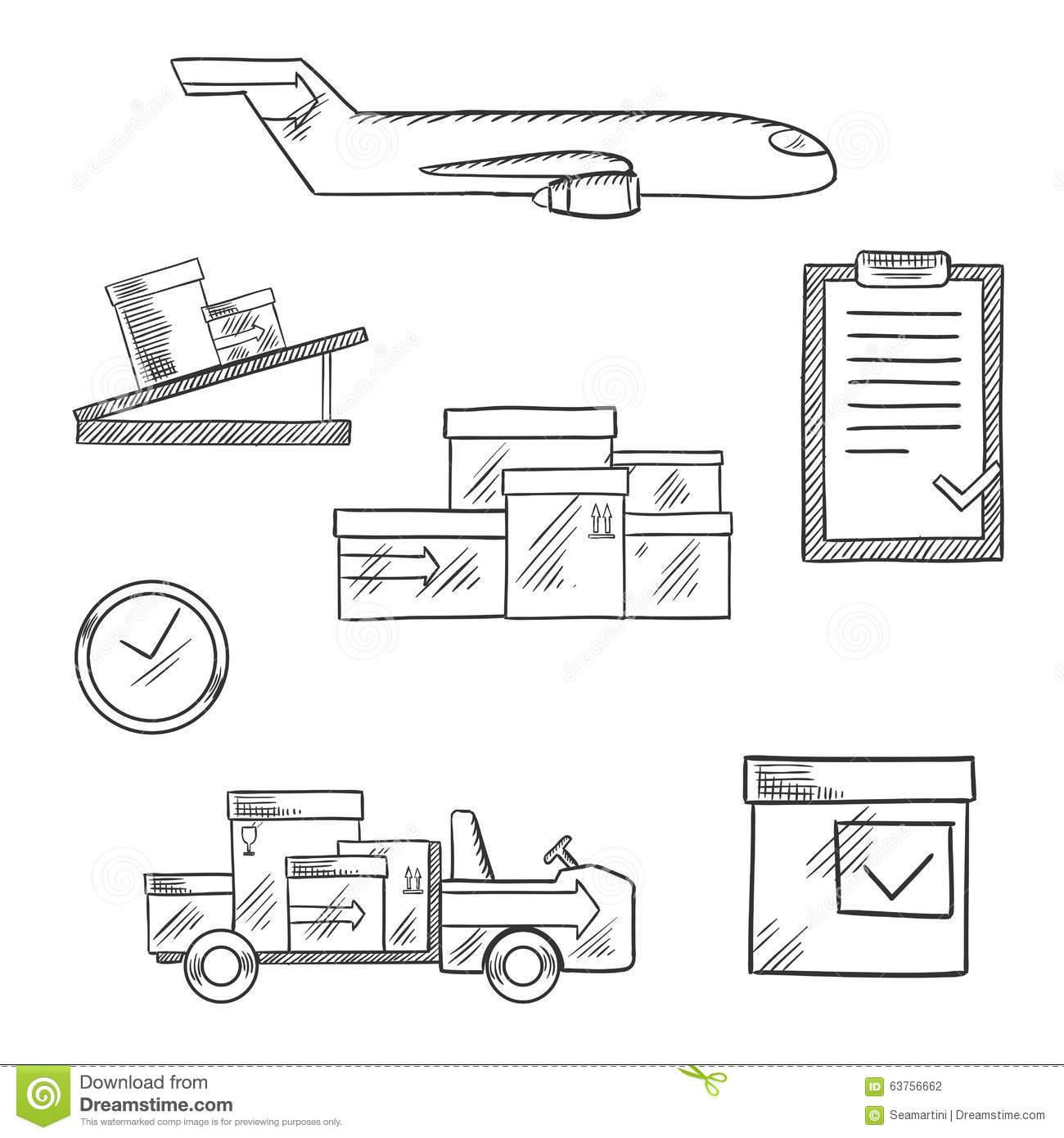Air Cargo And Logistics Business Sketched Icons Stock