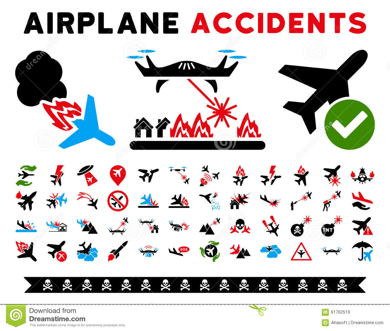 Aircraft Accidents Vector Icons Stock Vector