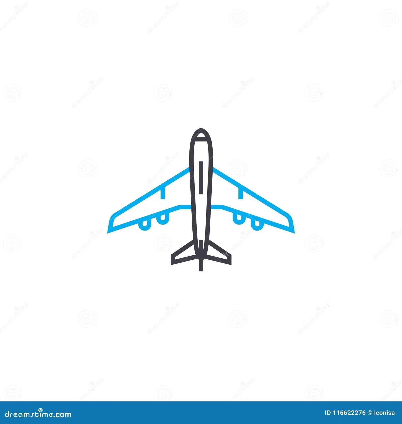 Aircraft Vector Thin Line Stroke Icon Aircraft Outline