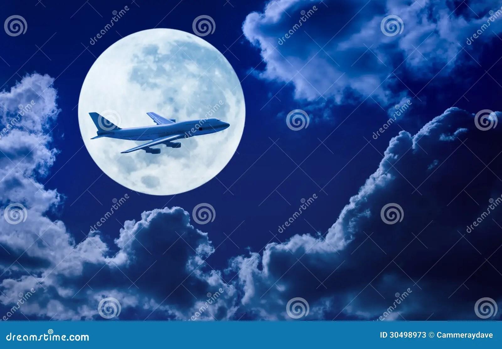 Airplane Flying Sky Moon Stock Photos Image 30498973