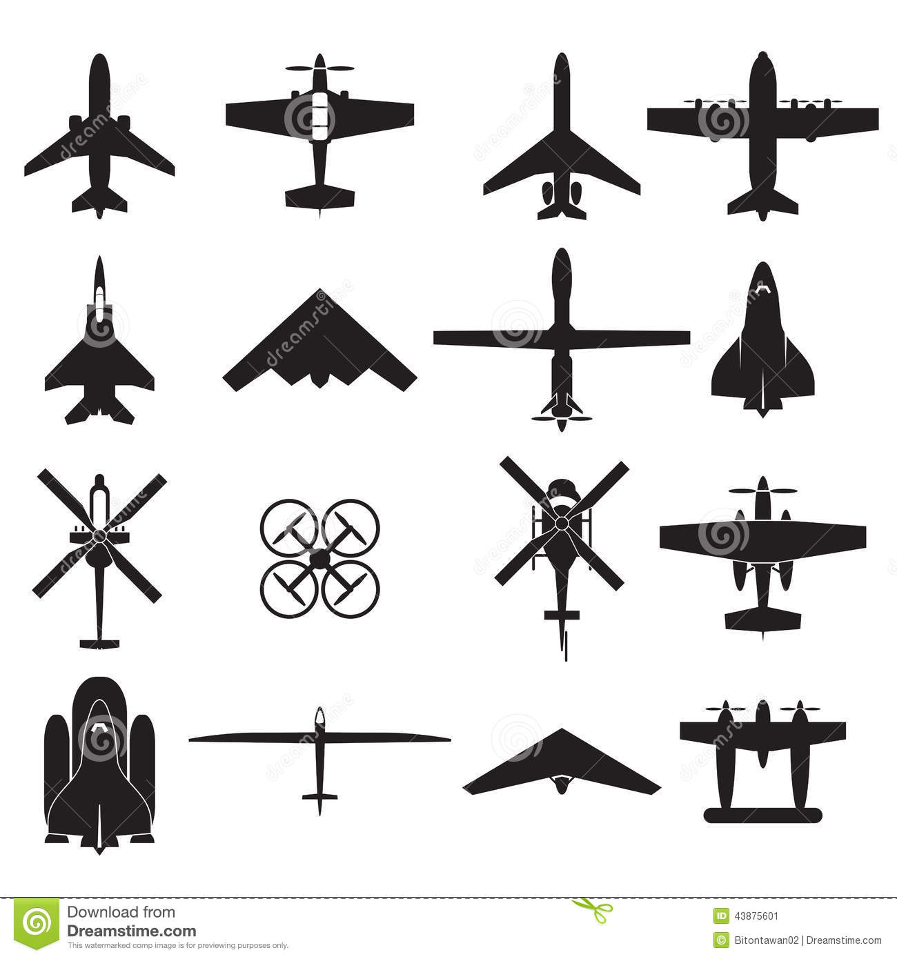 Airplane Icons Set Stock Vector Illustration Of Cargo