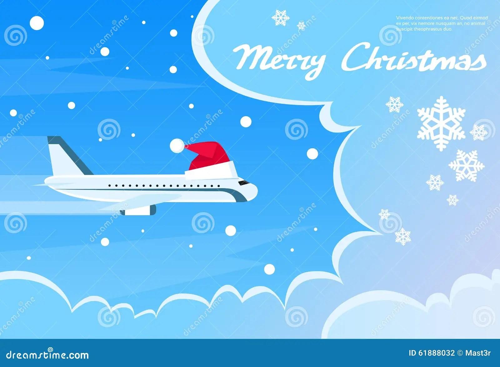 Airplane Santa Red Christmas Hat Cloud Blue Sky Stock