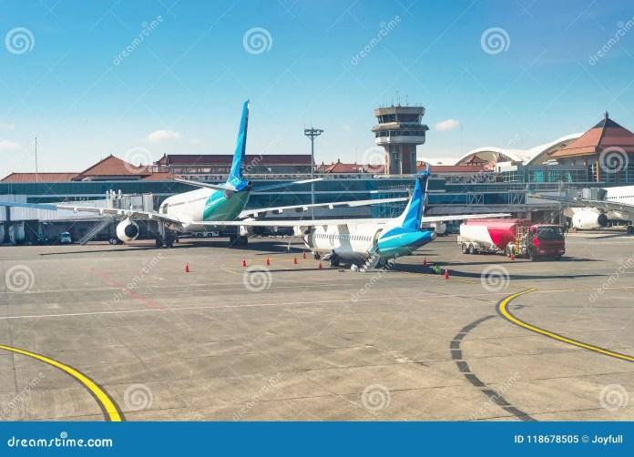 Airplanes At Runway Denpasar Airport Bali Stock Image Image Of Departure Indonesia 118678505