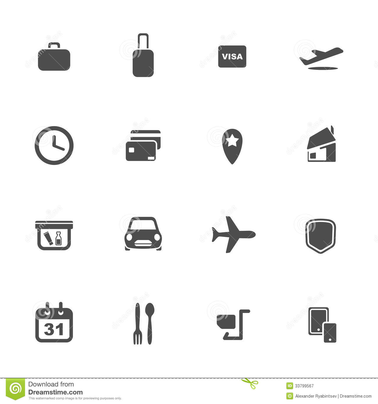Airport And Airlines Services Icons Royalty Free Stock