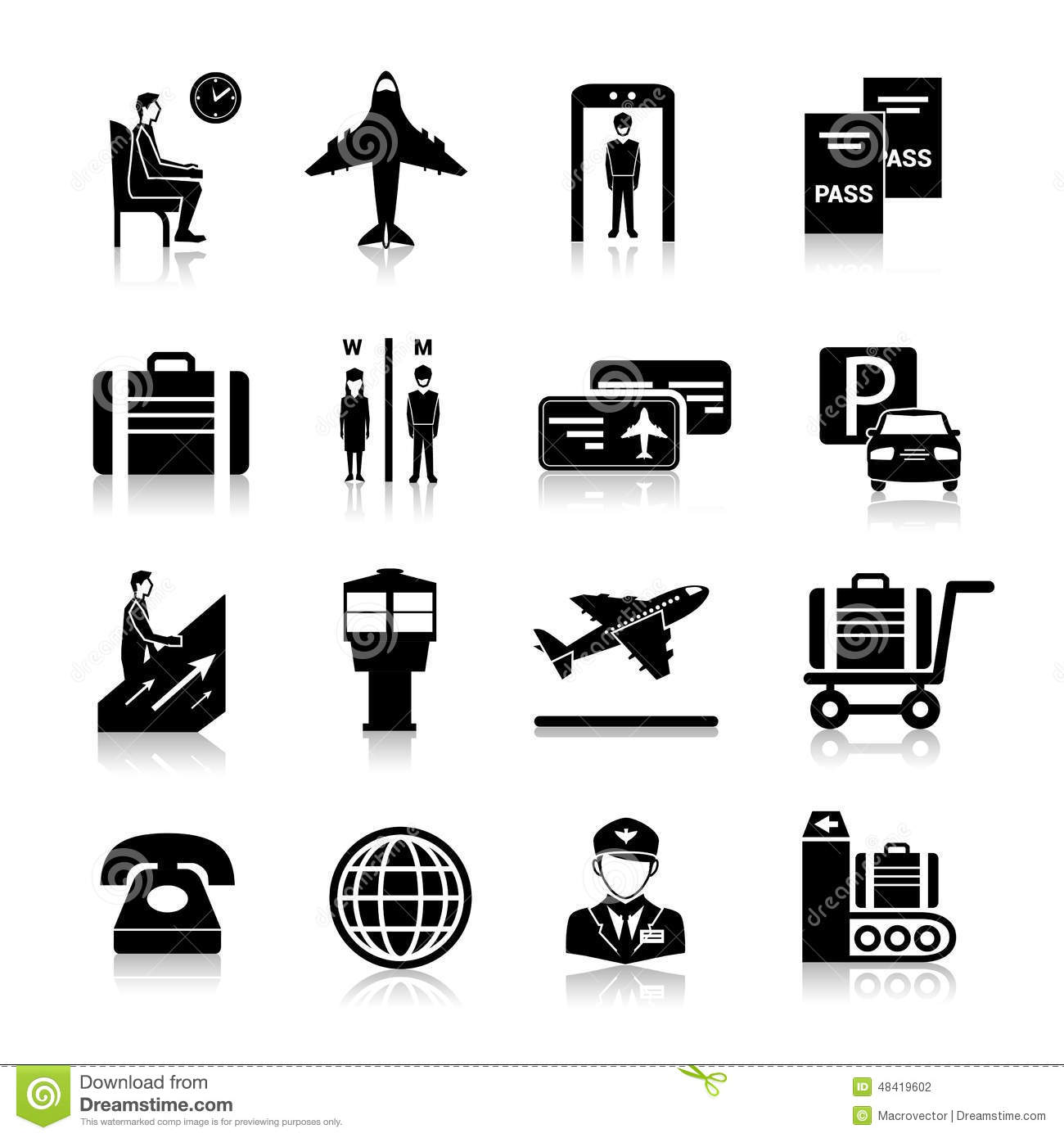 Vector Black Airport Icons Set Cartoon Vector