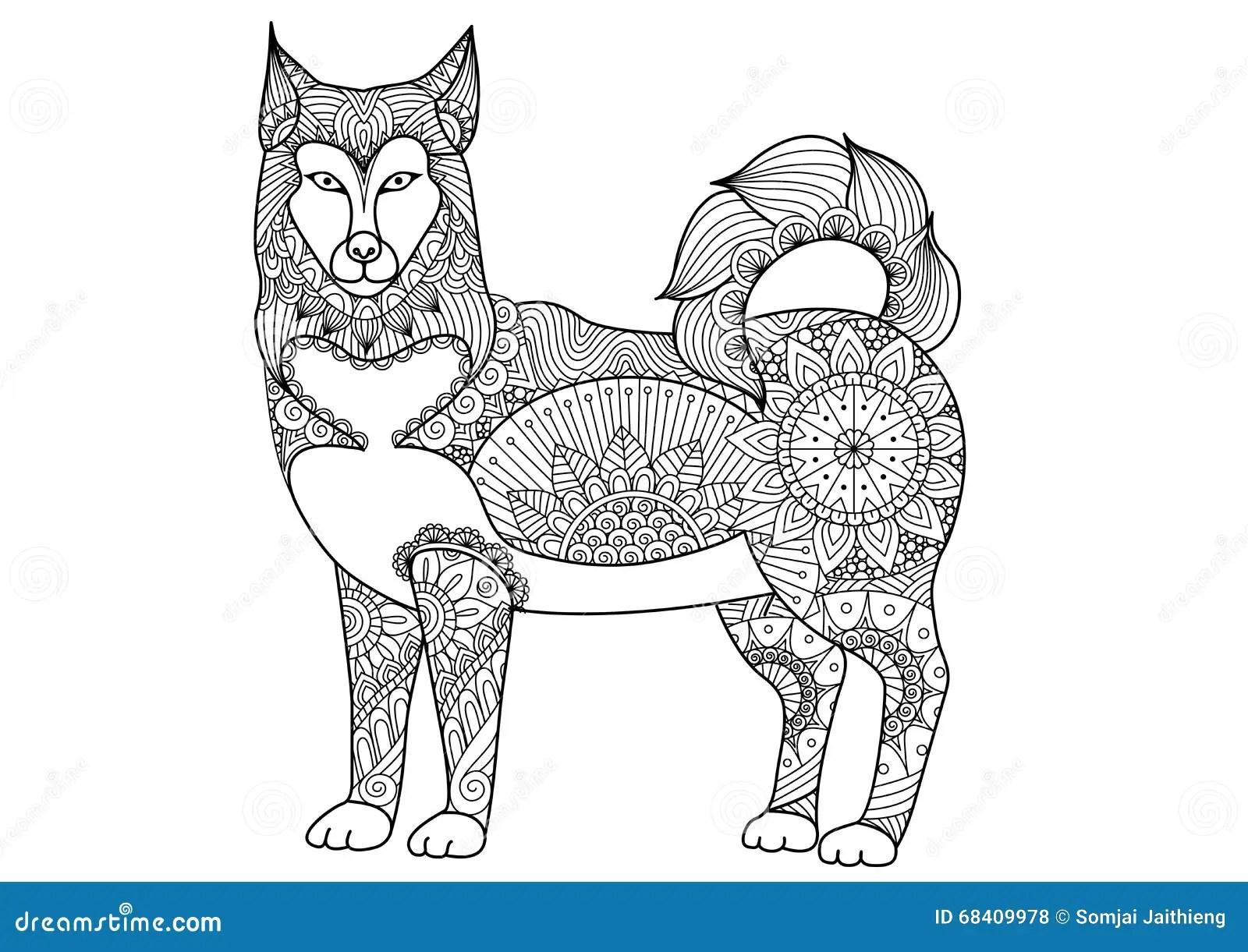 Alaskan Malamute Dog Line Art Design For Tattoo T Shirt