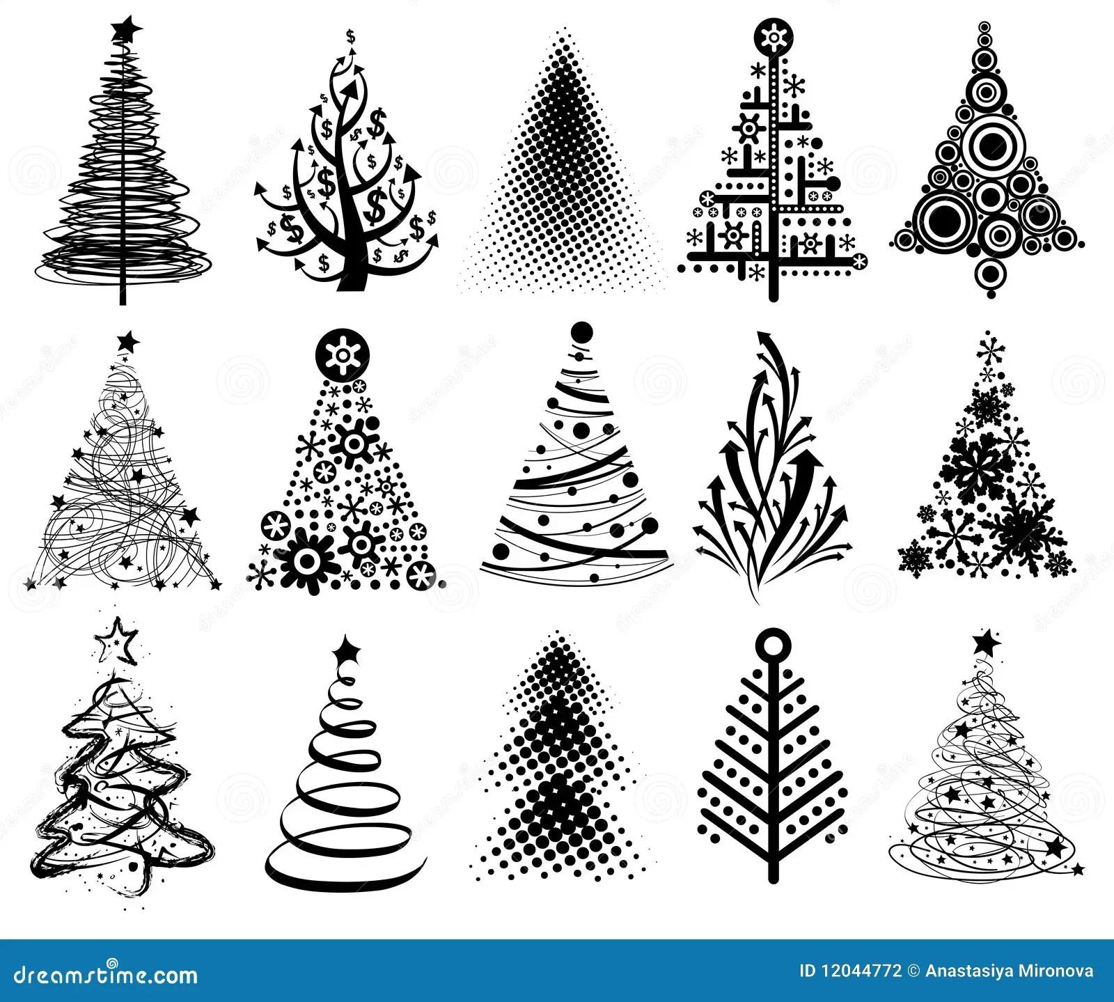Alberi Di Natale Moderni Illustrazione Di Stock