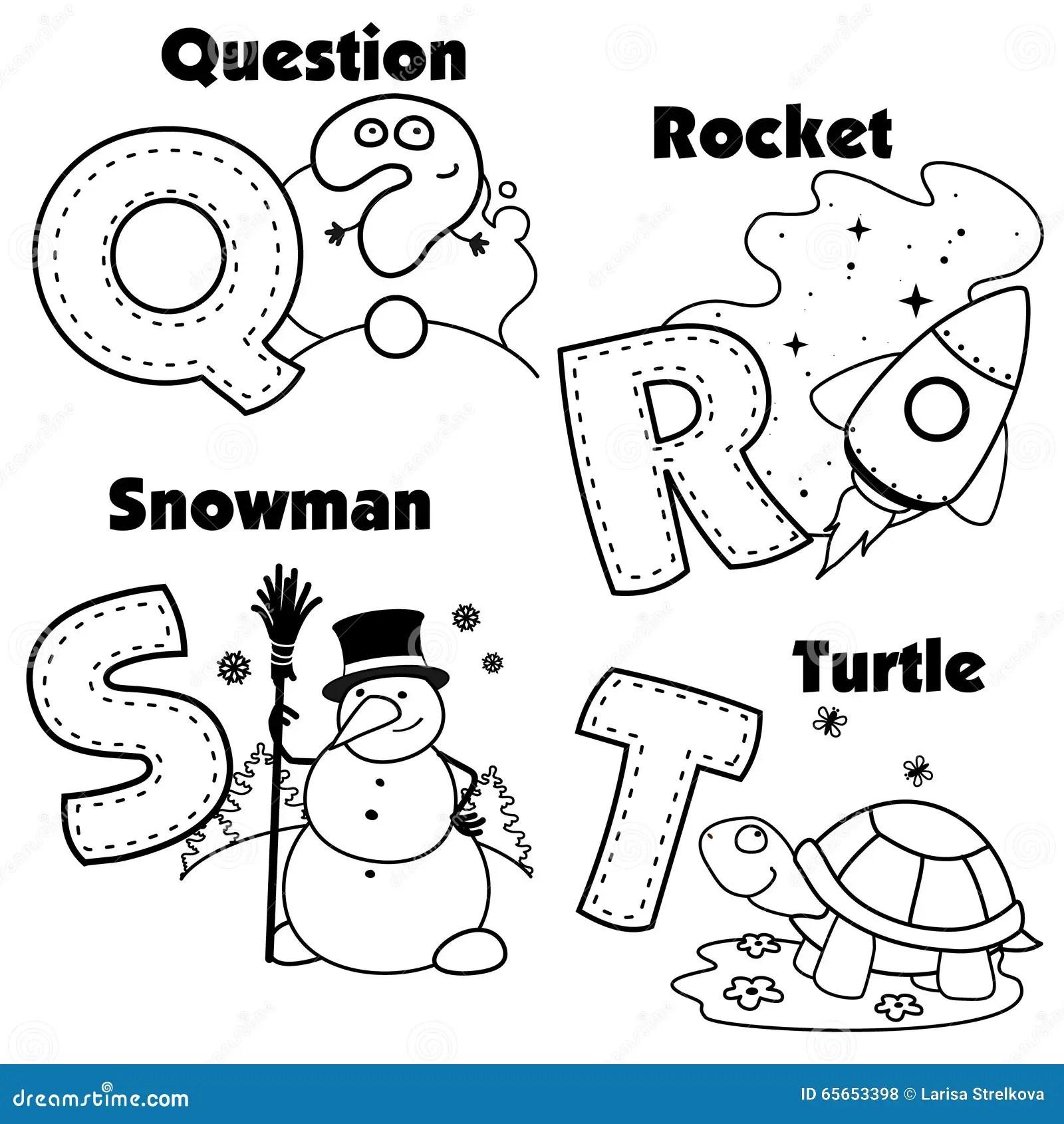 Alfabeto Ingles Y Las Letras Q R S Y T Ilustracion Del