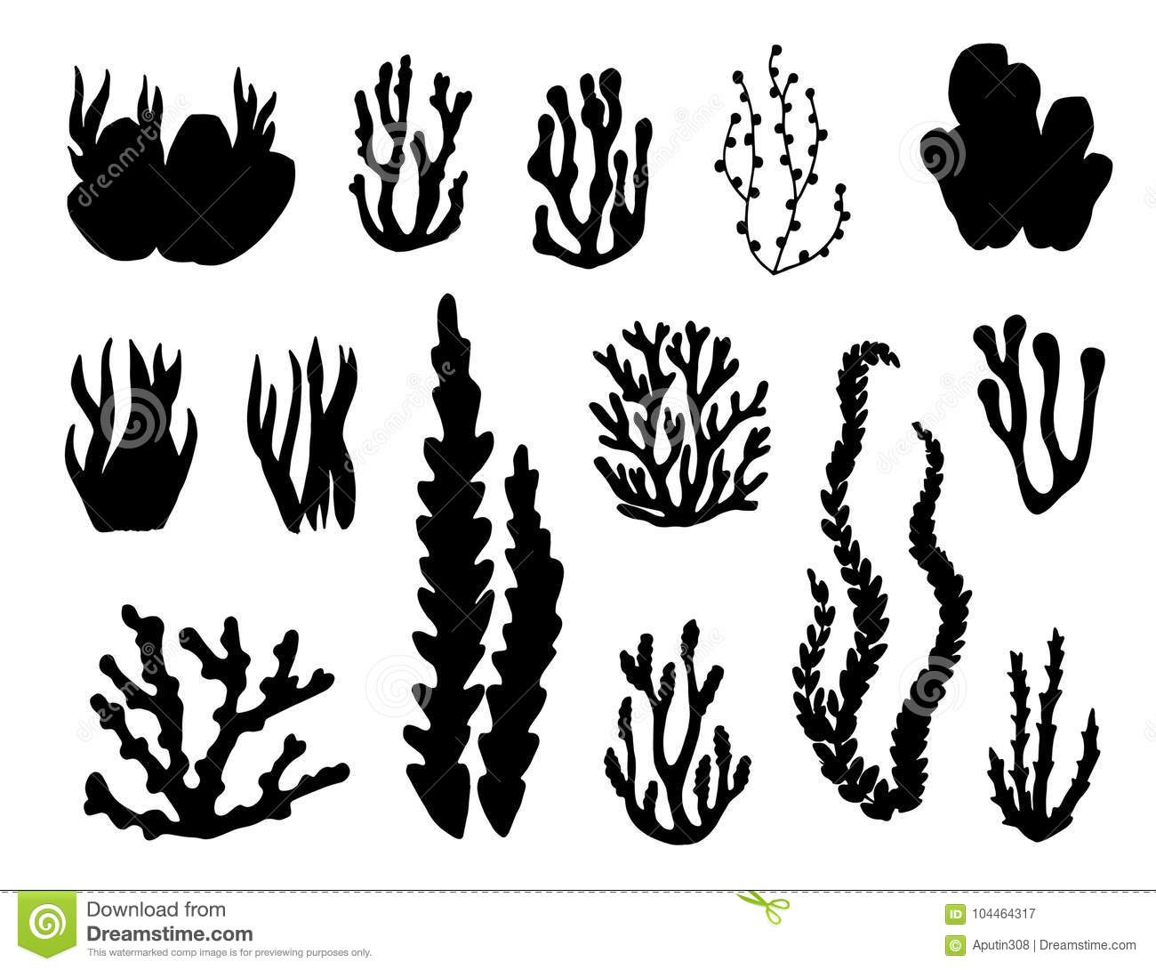Algae And Corals Set Of Vector Silhouettes Stock Vector