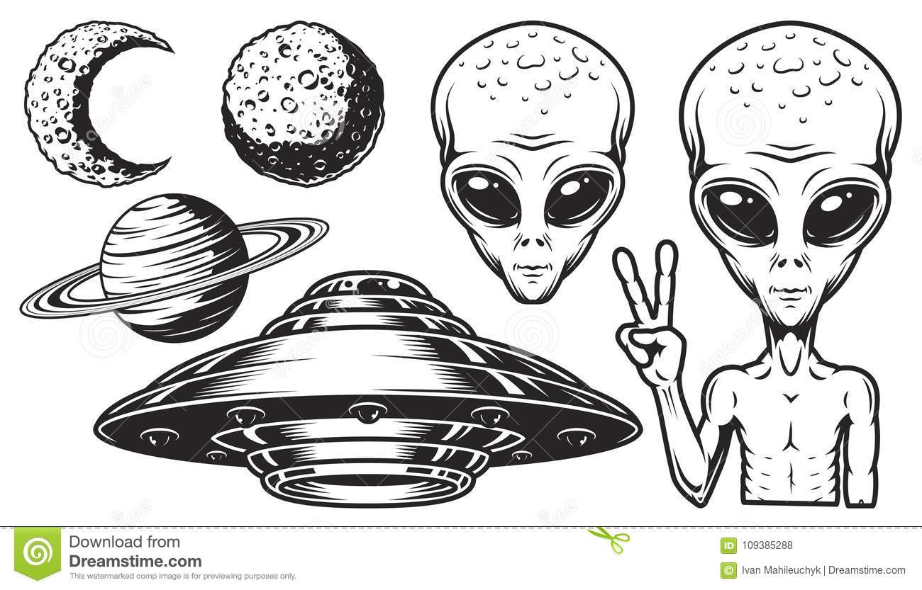 Aliens And Ufo Set Stock Vector Illustration Of Design