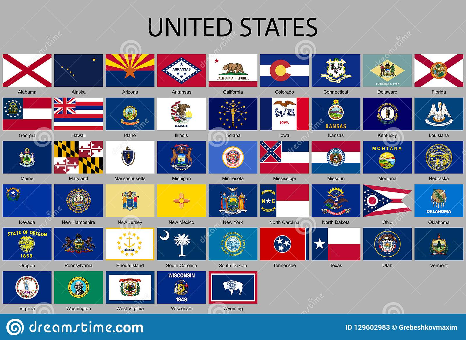 All Flags Of The United States Of America Stock